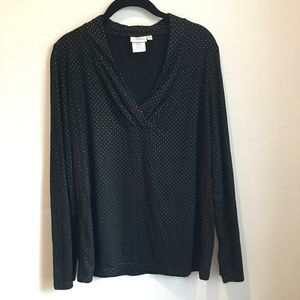 Hot Cotton Womens Gathered V Neck Top Black Gold